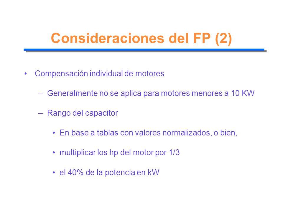 Consideraciones del FP (2)
