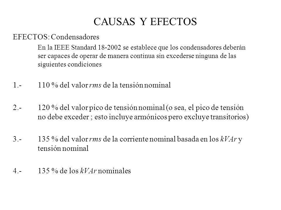 CAUSAS Y EFECTOS EFECTOS: Condensadores