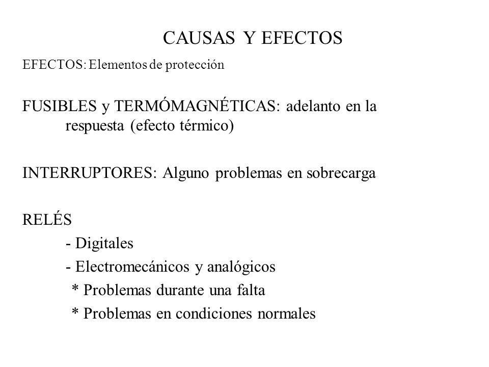 CAUSAS Y EFECTOS EFECTOS: Elementos de protección. FUSIBLES y TERMÓMAGNÉTICAS: adelanto en la respuesta (efecto térmico)