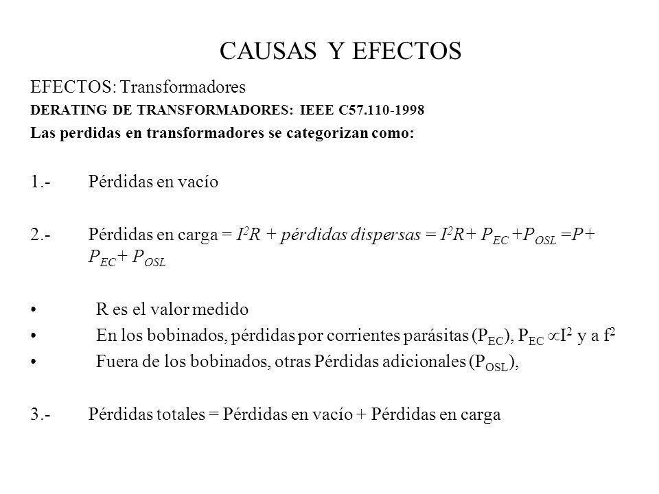 CAUSAS Y EFECTOS EFECTOS: Transformadores 1.- Pérdidas en vacío