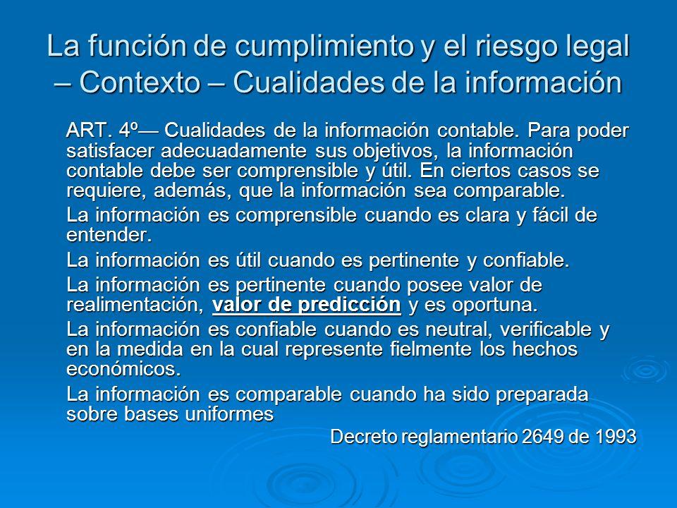 La función de cumplimiento y el riesgo legal – Contexto – Cualidades de la información