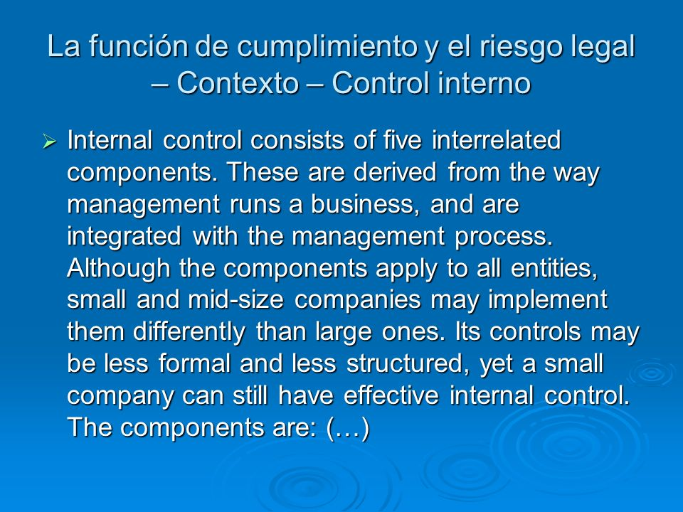 La función de cumplimiento y el riesgo legal – Contexto – Control interno