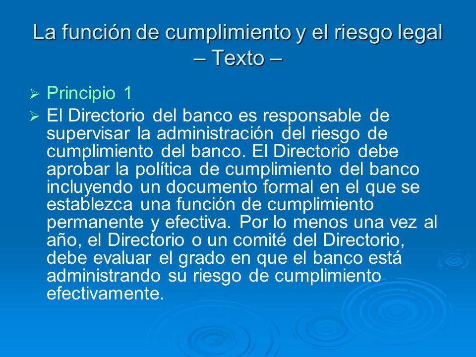 La función de cumplimiento y el riesgo legal – Texto –