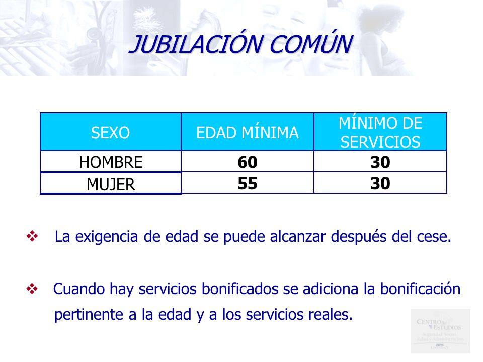 JUBILACIÓN COMÚN 30 55 MUJER 60 HOMBRE MÍNIMO DE SERVICIOS EDAD MÍNIMA