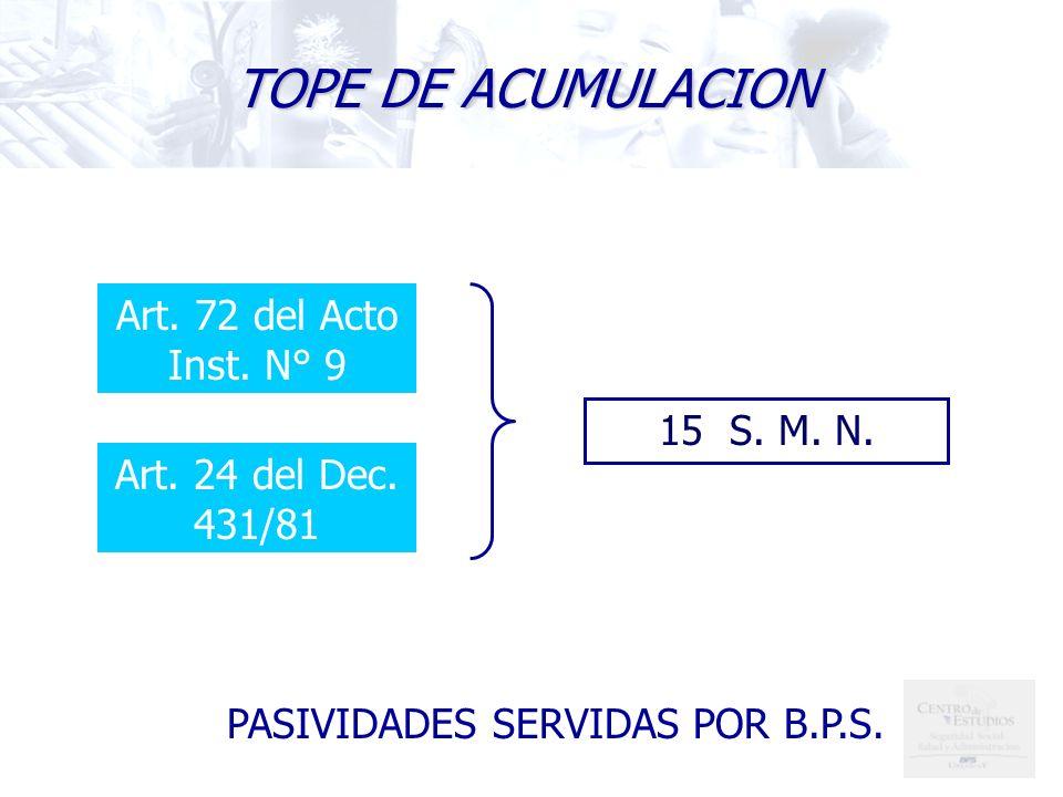 TOPE DE ACUMULACION Art. 72 del Acto Inst. N° 9 15 S. M. N.