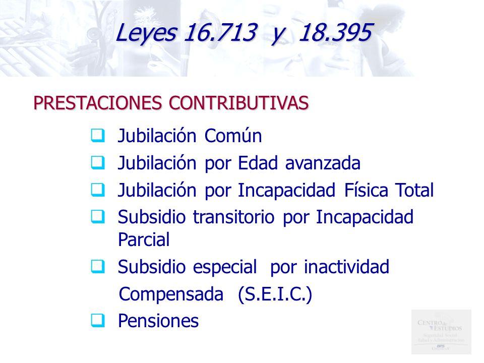 Leyes 16.713 y 18.395 PRESTACIONES CONTRIBUTIVAS Jubilación Común