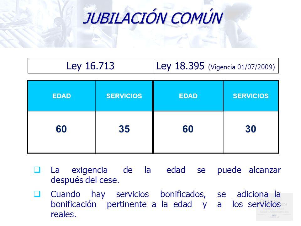 JUBILACIÓN COMÚN Ley 16.713 Ley 18.395 (Vigencia 01/07/2009) 60 35 60