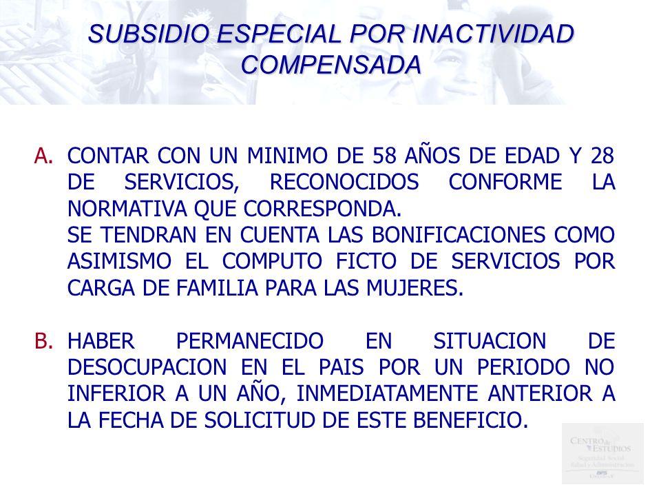 SUBSIDIO ESPECIAL POR INACTIVIDAD COMPENSADA