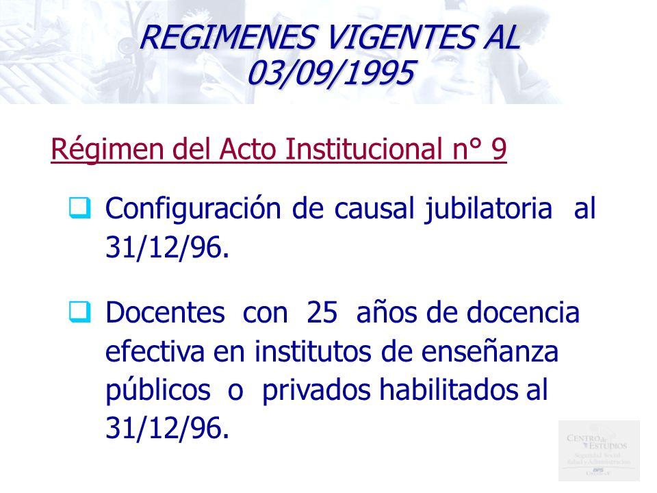 REGIMENES VIGENTES AL 03/09/1995
