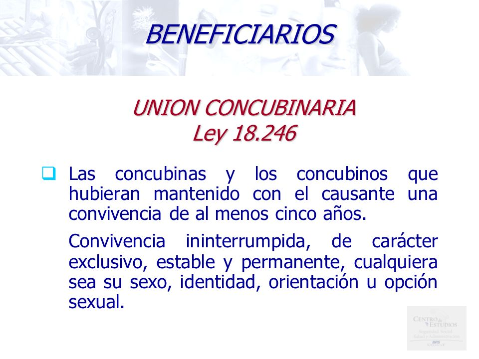 BENEFICIARIOS UNION CONCUBINARIA Ley 18.246