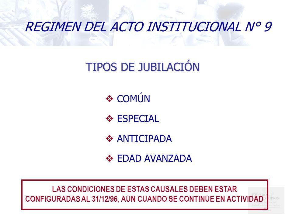 REGIMEN DEL ACTO INSTITUCIONAL N° 9