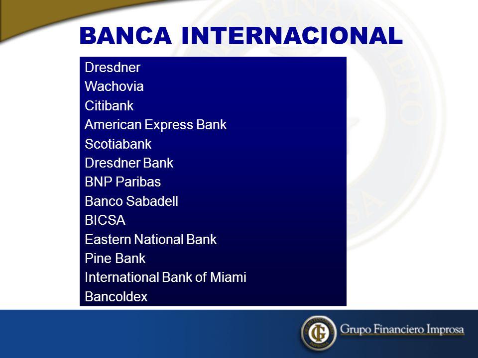 BANCA INTERNACIONAL Dresdner Wachovia Citibank American Express Bank