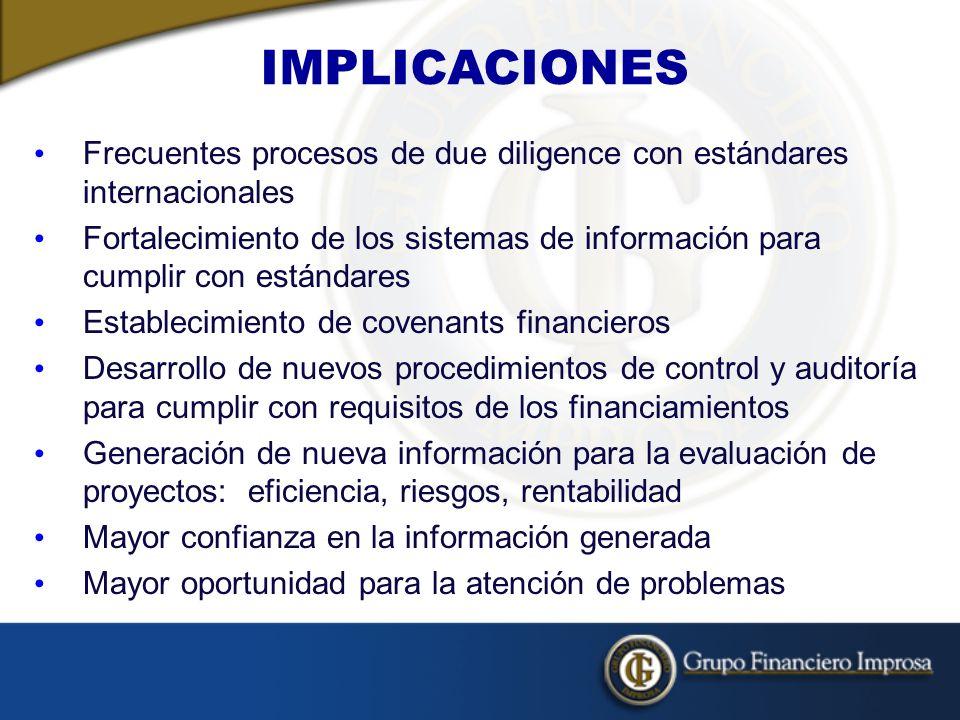IMPLICACIONES Frecuentes procesos de due diligence con estándares internacionales.