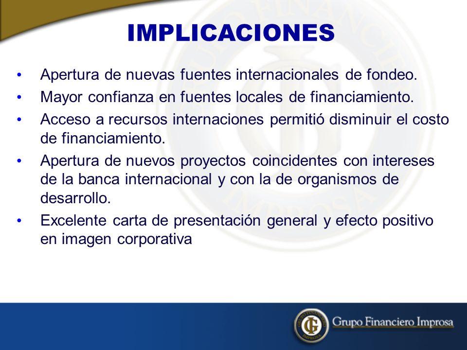 IMPLICACIONES Apertura de nuevas fuentes internacionales de fondeo.