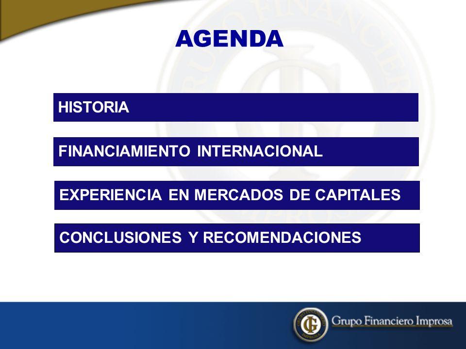 AGENDA HISTORIA FINANCIAMIENTO INTERNACIONAL