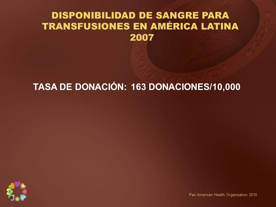 DISPONIBILIDAD DE SANGRE PARA TRANSFUSIONES EN AMÉRICA LATINA 2007