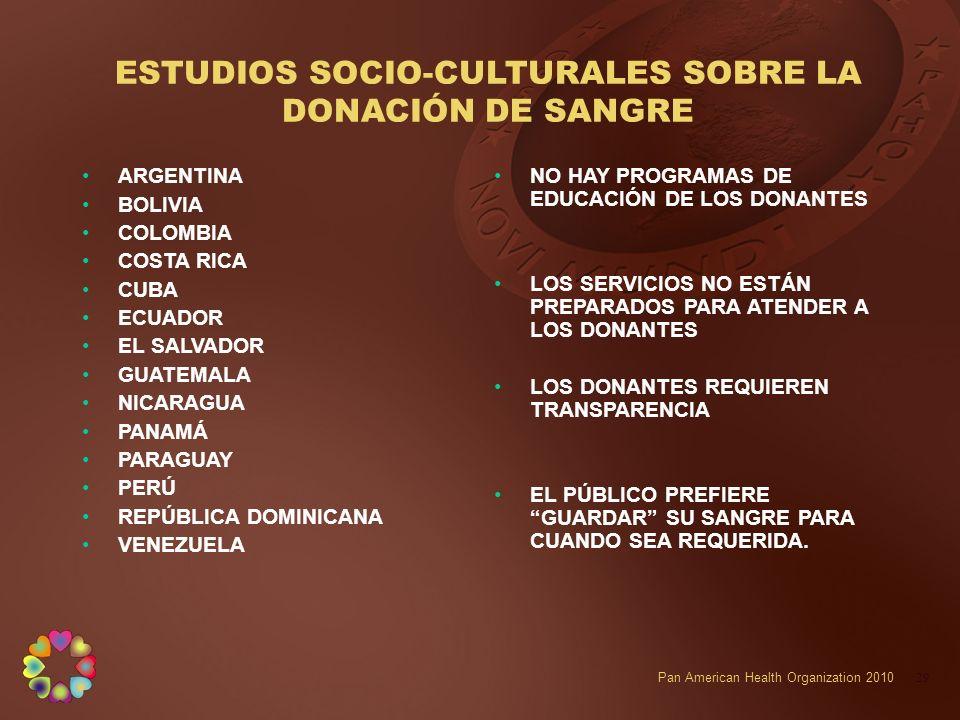 ESTUDIOS SOCIO-CULTURALES SOBRE LA DONACIÓN DE SANGRE