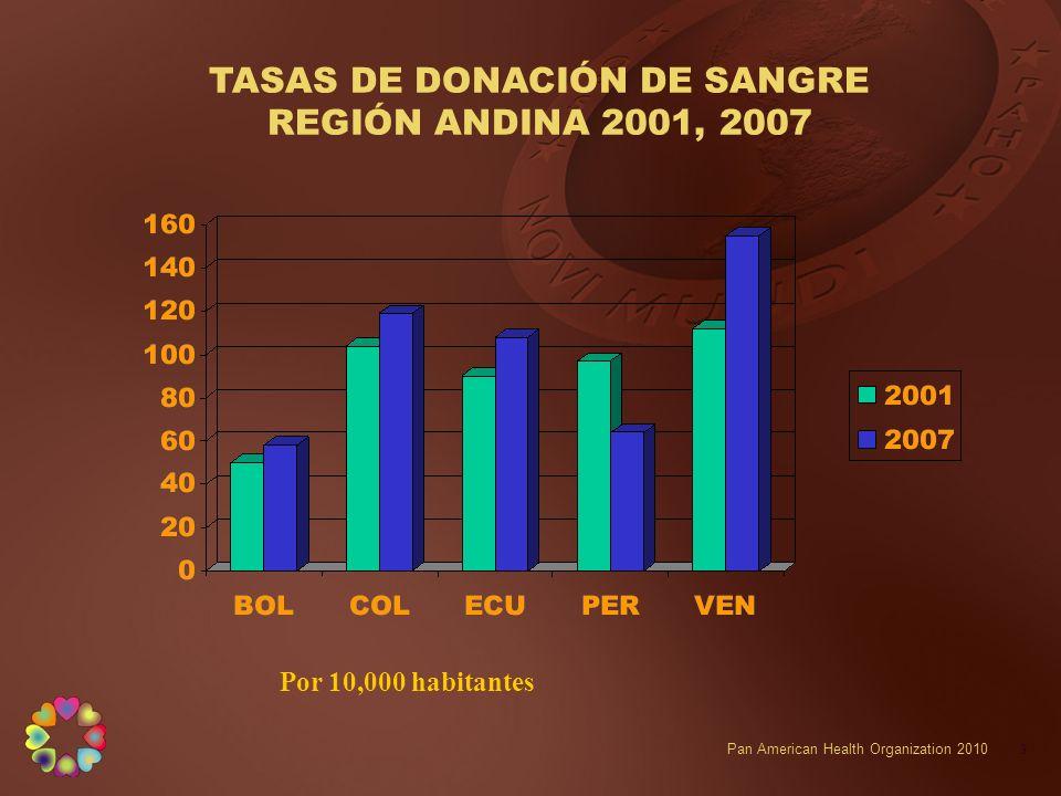 TASAS DE DONACIÓN DE SANGRE REGIÓN ANDINA 2001, 2007