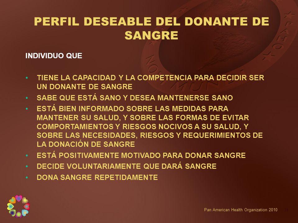 PERFIL DESEABLE DEL DONANTE DE SANGRE
