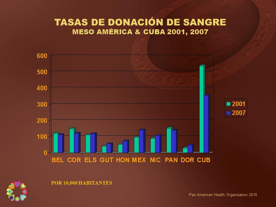 TASAS DE DONACIÓN DE SANGRE MESO AMÉRICA & CUBA 2001, 2007