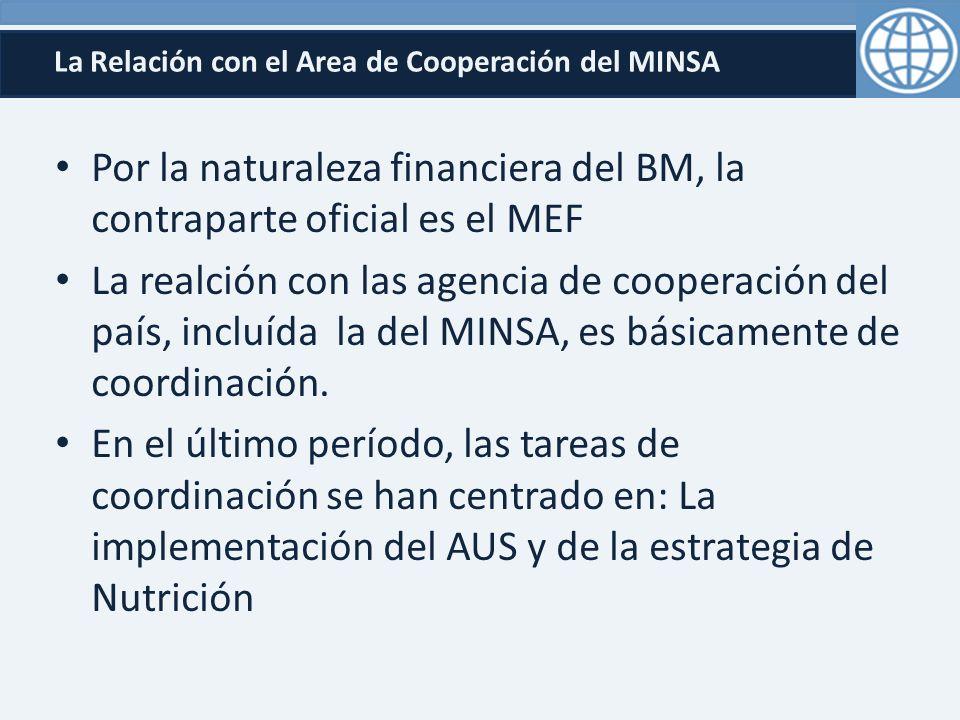 La Relación con el Area de Cooperación del MINSA