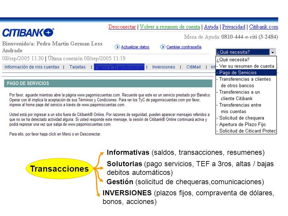 Transacciones Informativas (saldos, transacciones, resumenes)