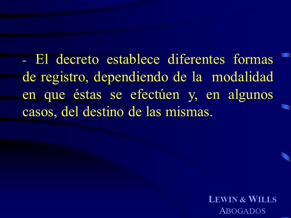 El decreto establece diferentes formas de registro, dependiendo de la modalidad en que éstas se efectúen y, en algunos casos, del destino de las mismas.
