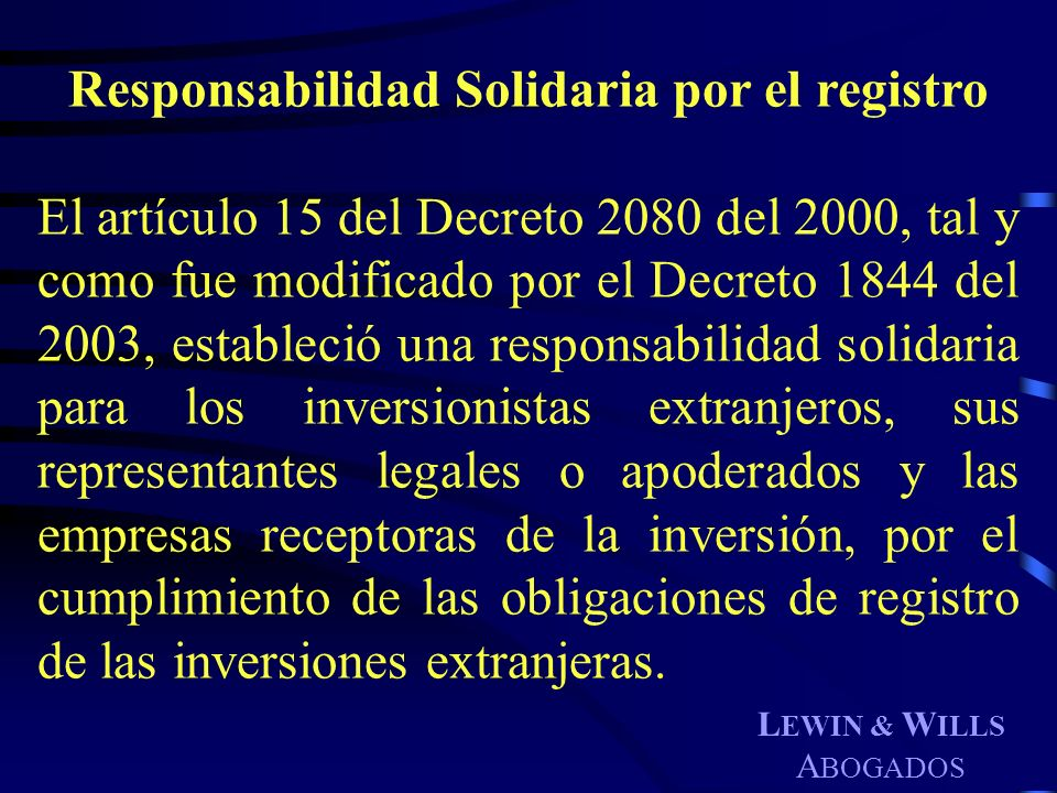 Responsabilidad Solidaria por el registro