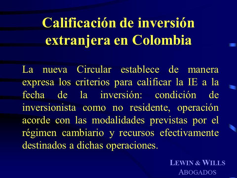 Calificación de inversión extranjera en Colombia