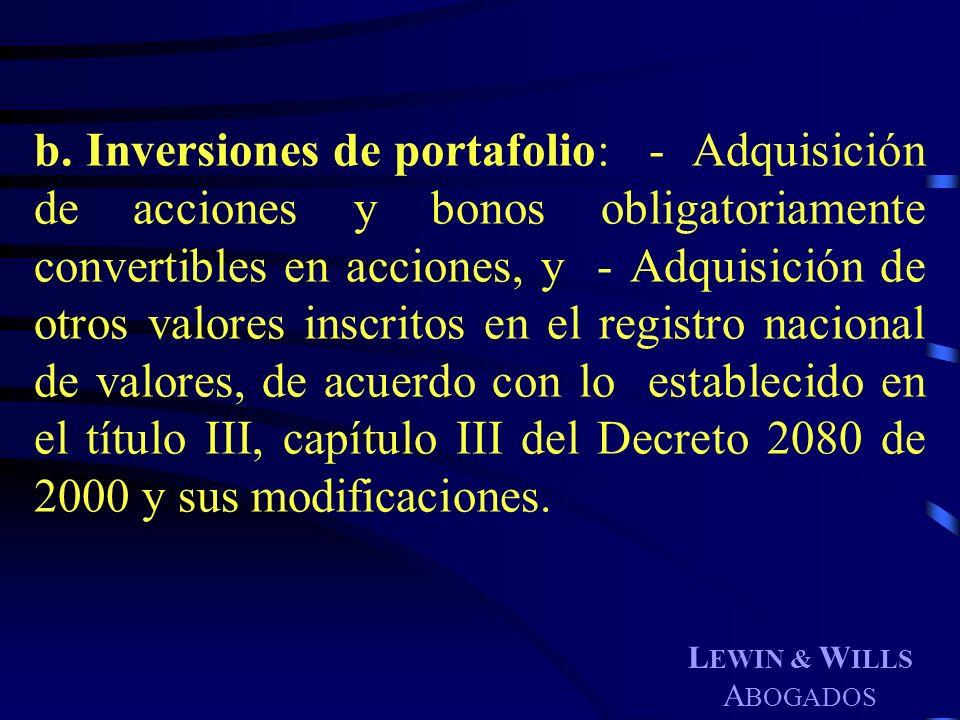 b. Inversiones de portafolio: - Adquisición de acciones y bonos obligatoriamente convertibles en acciones, y - Adquisición de otros valores inscritos en el registro nacional de valores, de acuerdo con lo establecido en el título III, capítulo III del Decreto 2080 de 2000 y sus modificaciones.