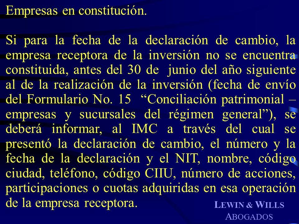 Empresas en constitución.