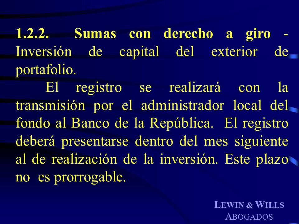 1.2.2. Sumas con derecho a giro - Inversión de capital del exterior de portafolio.