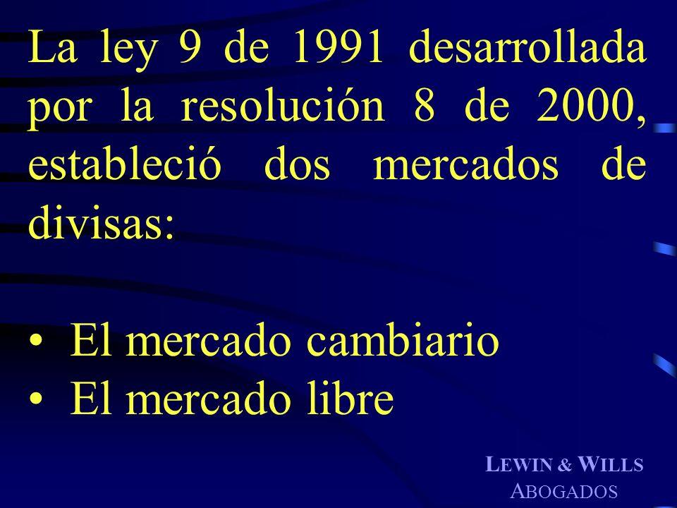 La ley 9 de 1991 desarrollada por la resolución 8 de 2000, estableció dos mercados de divisas: