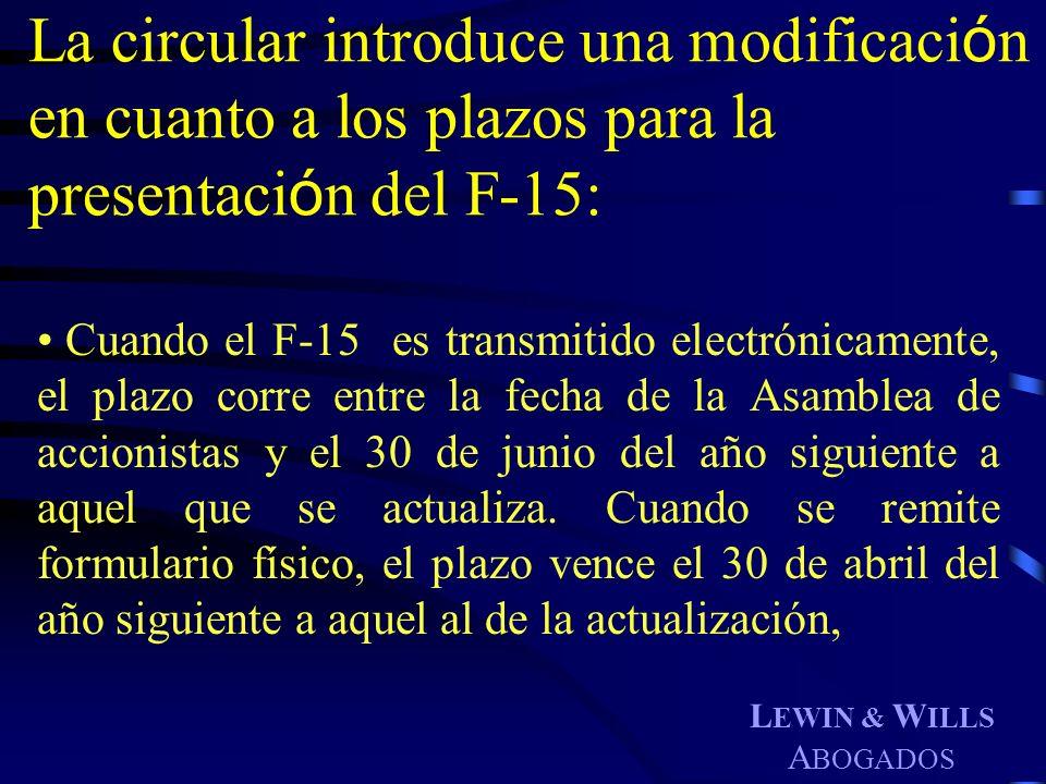 La circular introduce una modificación en cuanto a los plazos para la presentación del F-15: