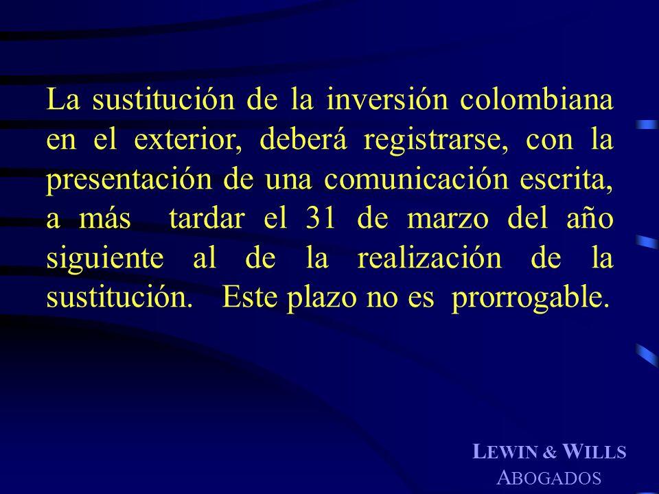 La sustitución de la inversión colombiana en el exterior, deberá registrarse, con la presentación de una comunicación escrita, a más tardar el 31 de marzo del año siguiente al de la realización de la sustitución. Este plazo no es prorrogable.
