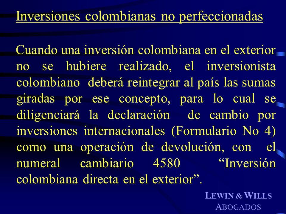Inversiones colombianas no perfeccionadas