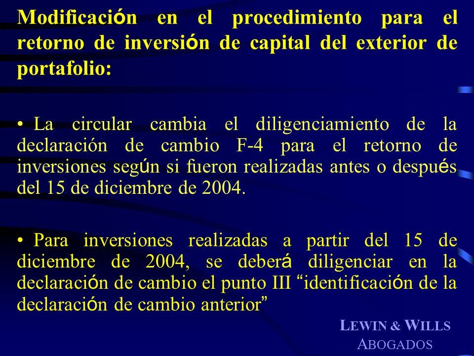 Modificación en el procedimiento para el retorno de inversión de capital del exterior de portafolio:
