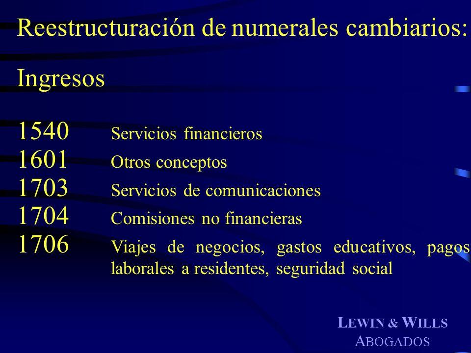 Reestructuración de numerales cambiarios: Ingresos