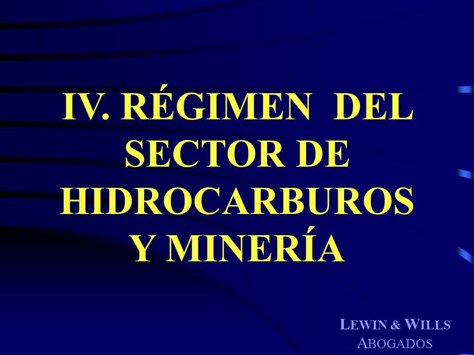 IV. RÉGIMEN DEL SECTOR DE HIDROCARBUROS Y MINERÍA