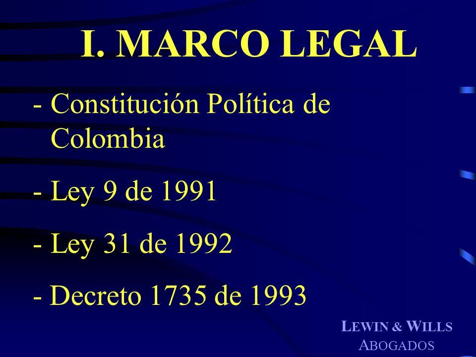 I. MARCO LEGAL - Constitución Política de Colombia - Ley 9 de 1991