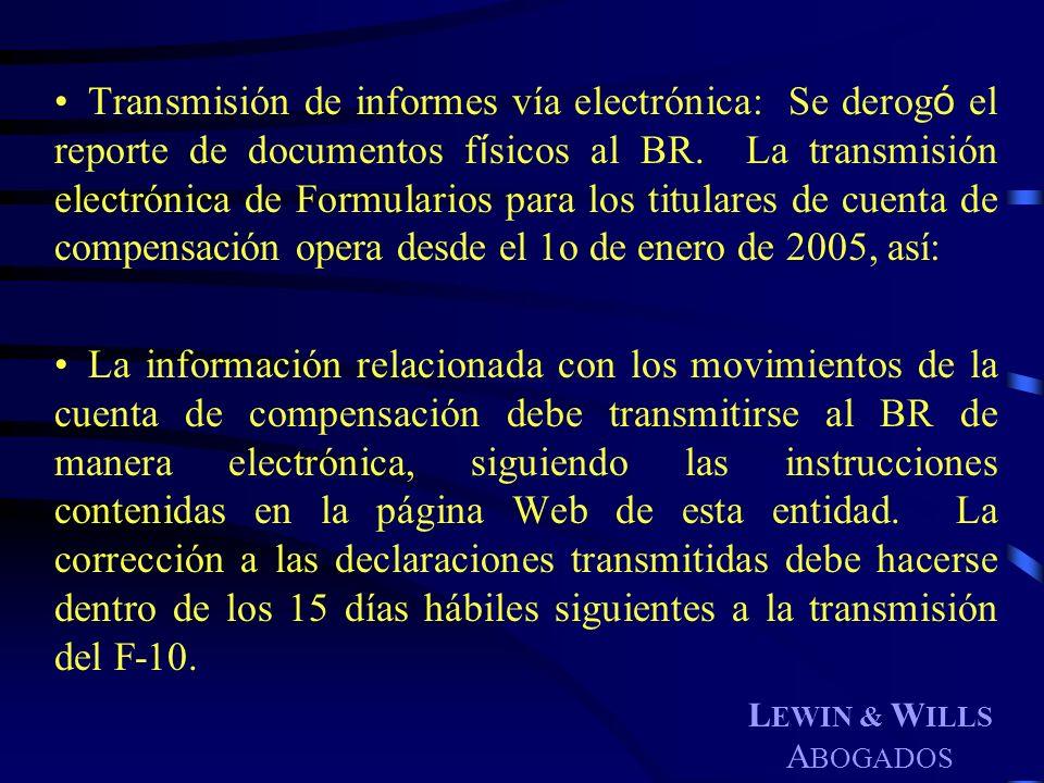 Transmisión de informes vía electrónica: Se derogó el reporte de documentos físicos al BR. La transmisión electrónica de Formularios para los titulares de cuenta de compensación opera desde el 1o de enero de 2005, así: