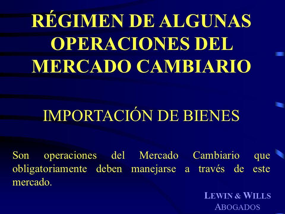 RÉGIMEN DE ALGUNAS OPERACIONES DEL MERCADO CAMBIARIO