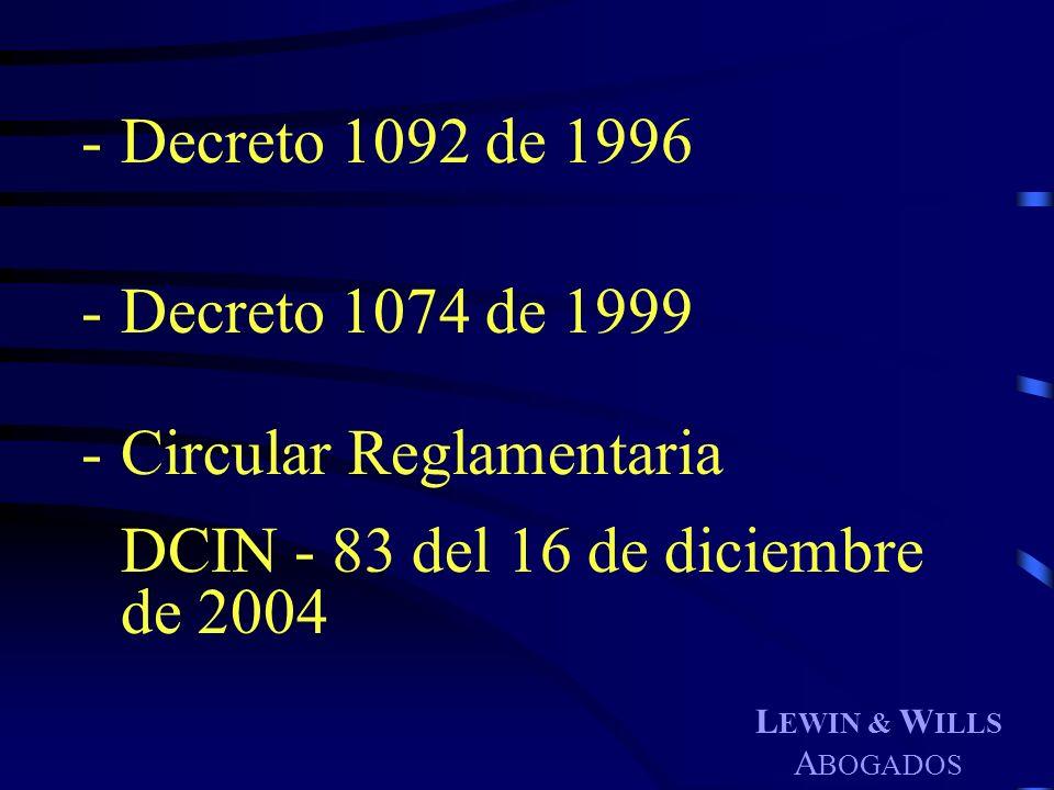 Circular Reglamentaria DCIN - 83 del 16 de diciembre de 2004