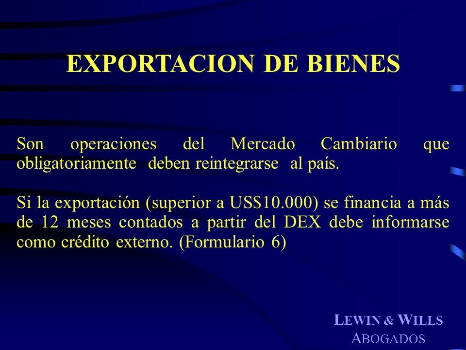 EXPORTACION DE BIENES Son operaciones del Mercado Cambiario que obligatoriamente deben reintegrarse al país.