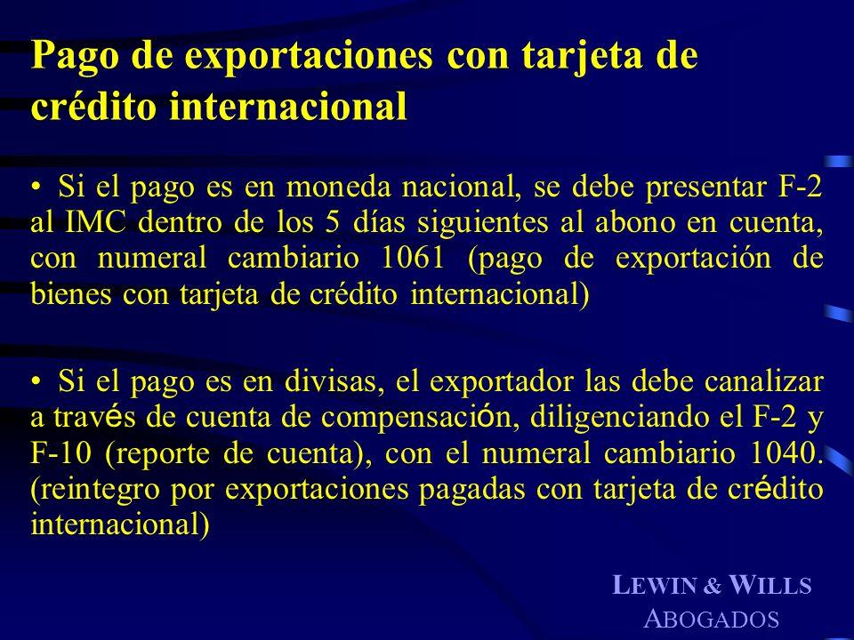 Pago de exportaciones con tarjeta de crédito internacional