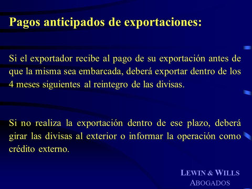 Pagos anticipados de exportaciones: