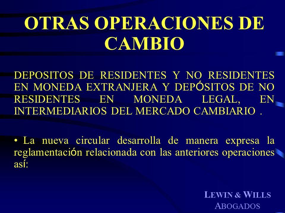 OTRAS OPERACIONES DE CAMBIO