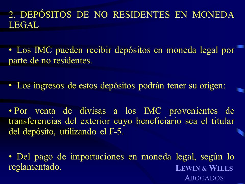 DEPÓSITOS DE NO RESIDENTES EN MONEDA LEGAL