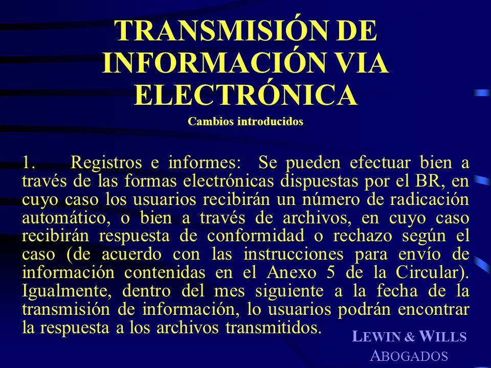 TRANSMISIÓN DE INFORMACIÓN VIA ELECTRÓNICA