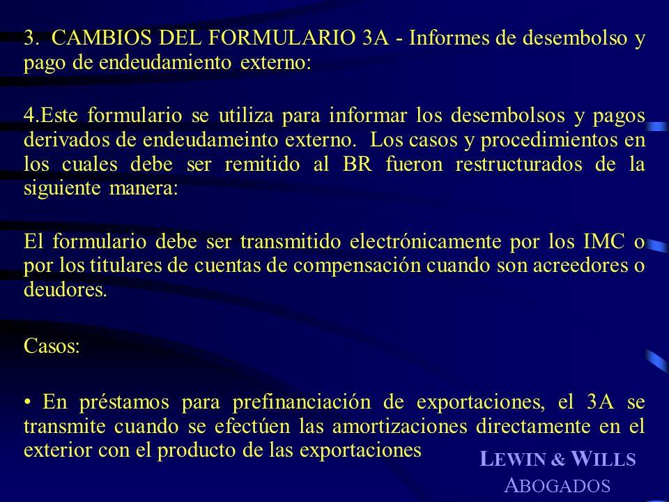 CAMBIOS DEL FORMULARIO 3A - Informes de desembolso y pago de endeudamiento externo:
